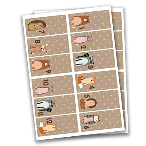 Papierdrachen 24 Adesivi con Numeri per Il Calendario dell'Avvento Squadrato - Marrone n. 34 - Adesivi - per Creare e Decorare