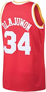 Litmey Olajuwon Jersey Men's 34 Jerseys Hakeem Basketball Jersey Red(S-XXL)