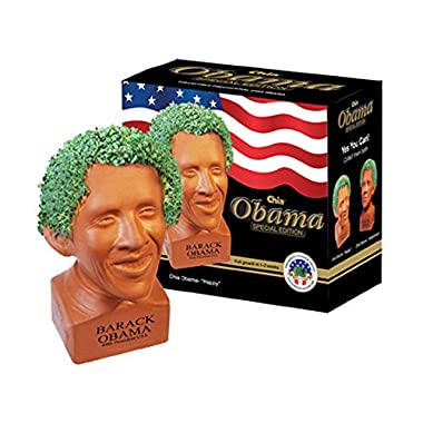 Chia Pet Happy Barack Obama, Decorative Pottery Planter, Easy To Do and Fun To Grow, Novelty Gift, Perfect For Any Occasion (Contains Packets For 3 Plantings)