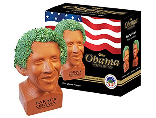 Chia Pet Happy Barack Obama with Seed Pack, Decorative Pottery Planter, Easy to Do and Fun to Grow, Novelty Gift, Perfect for Any Occasion