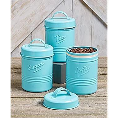 Mini Kitchen Canisters for Flour Sugar Tea Coffee Vintage Metal Steel Tin (Blue)