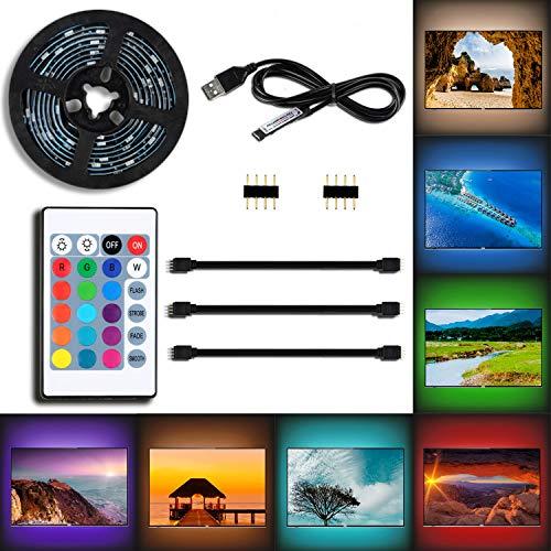 Tiras de LED TV, Tiras LED Iluminación 2M USB Tira de LED Luz con control remoto para 24 Botones Para TV de 40 A 60 Pulgadas, Monitor De PC Perfecto para Jardín, balcón , decoración de fiestas hogar