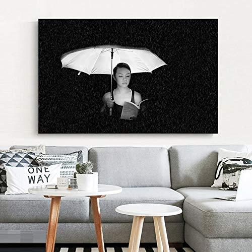 wZUN Mujer sosteniendo un Paraguas Foto en Escala de Grises Arte de la Pared Pintura Lienzo Pintura Sala de Estar decoración salón Imagen de Pared 60x90 Sin Marco