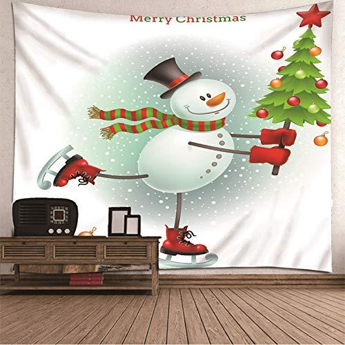 BATOHOME Navidad Niña 7 Años, Tapiz Yoga Pared Muñeco de Nieve Patinaje Tapiz Naturaleza Pared, Tapiz para Pared Dormitorio 350x256CM