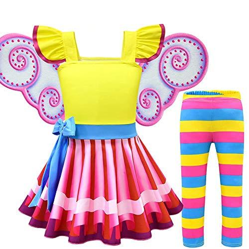 Amatop Fancy Nancy Costume, Nancy Color Dress Cosplay Costume Party City Fancy Nancy Disfraz de Halloween para niñas pequeñas con Accesorios incluidos