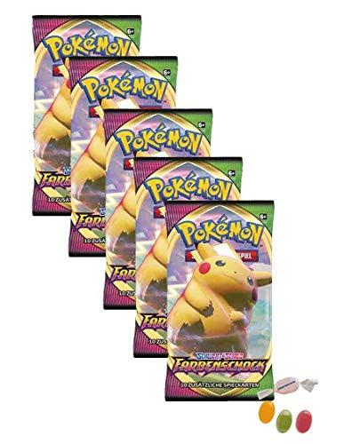 Pokemon Schwert & Schild - Farbenschock - 5 Booster - Deutsch zusätzlich 1 x Sticker-und-co Fruchtmix Bonbon