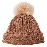 Marca Amazon – Hikaro - Gorro de invierno para mujer con piel sintética Bobble sombrero de invierno marrón