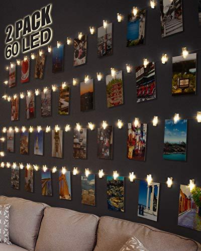 [2 Pack] Clip Cadena de Luces LED,Kolpop 6m 60 Led Colgar Fotos de Luces 30 Pinzas Para Fotos Fotoclips Guirnalda de Luces Pinzas con Luz para Colgar Fotos Por Decoración Habitaciones Bodas Cumpleaños