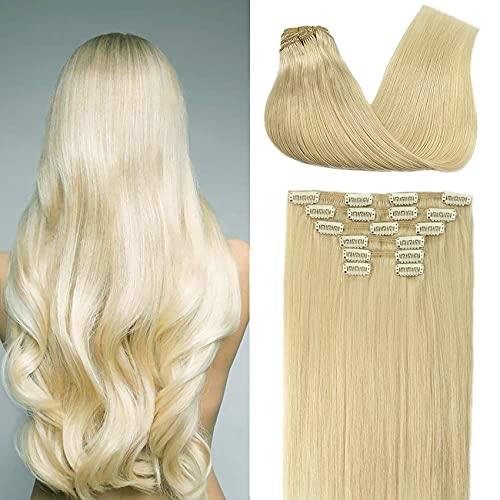 Platinum Blonde Clip In Human Hair Extension 10A Grade Brazilian human...
