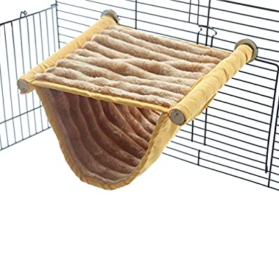emours Double Bunkbed Hammock Sleep Bed Cage Play Platform with Warm Fleece for Hamster Mice from KENSID