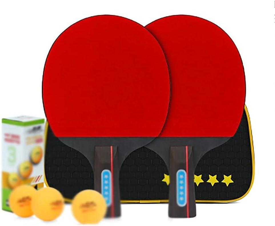 JIANGCJ bajo Precio. Conjunto de Tenis de Mesa con 2 paletas de Ping Pong y 3 Bolas de Ping Pong, Ping Pong Paddle Bat 3 Star-D