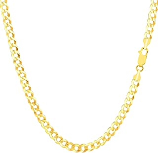 14K Gold 4MM Cuban/Curb Link Chain Necklace- Made in Italy- Multiple Lengths & Colors available
