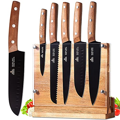 ENOKING Knife Block Set, 6 Pieces Knife Set with Magnetic Wooden Block, Ultra Sharp Kitchen Knife Set with Wooden Handle (With Knives )
