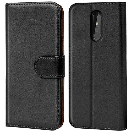 Verco Nokia 3.2 Hülle, Handyhülle für Nokia 3.2 Tasche PU Leder Flip Hülle Schutzhülle Brieftasche - Schwarz