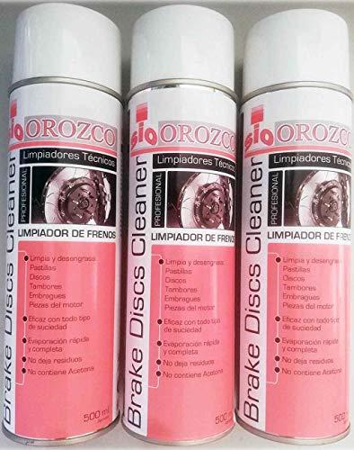 Suministros Orozco, s.l. Limpiador de Frenos Coche Moto o camion Profesional Spray 500ml. (3 Unidades)
