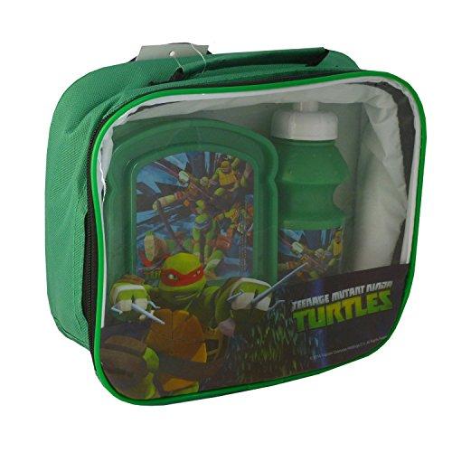 Tartarughe Ninja - Borsa porta pranzo in 3 pezzi, con borsa, scatola e bottiglia