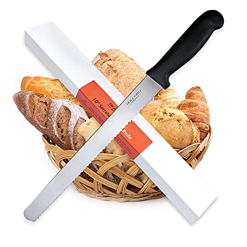 BOLEX 10 Inch Serrated Bread Knife Wide Wavy Edge knife, 2.5MM Thickened Stainless Steel Multi-Purpose Kitchen Knife, Professional Bread Knife for Homemade Bread, Crusty Breads, Cake, Bagel