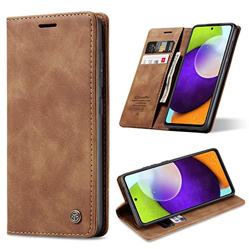 ivencase Funda para Samsung Galaxy A52 5G con Fundas de Cuero Magnético Tarjetero y Billetera Flip Protectora Carcasa Samsung Galaxy A52 5G (Marrón)