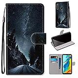 Miagon Flip PU Leder Schutzhülle für Huawei P30 Lite,Bunt Muster Hülle Brieftasche Case Cover Ständer mit Kartenfächer Trageschlaufe,Nacht Straße -
