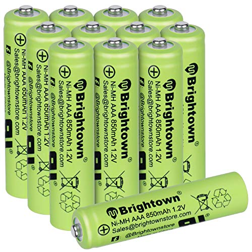 NiMH Rechargeable AAA Battery Pack of 12, 850mAh 1.2v Pre Charged Triple A Solar Battery for Solar Lights, Remote Controller, Electric Toys, UL Certified