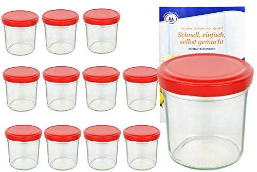 MamboCat 12er Set Sturzglas 350 ml to 82 roter Deckel incl. Diamant Gelierzauber Rezeptheft Marmeladenglas Einmachglas Einweckglas