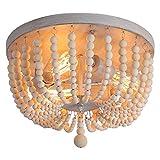 Q&S Wood Beaded Chandelier,Boho Farmhouse Light Fixture,Oak White,3 Lights,Semi...