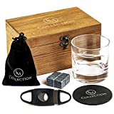 Cigar Holder Whiskey Glass Set – 12 Oz., Old Fashioned Glass with 4 Granite Whiskey Stones, Cigar Cutter, Coaster, Velvet Bag, & Wooden Cigar Box – Gifts for Men Who Have Everything by EMcollection
