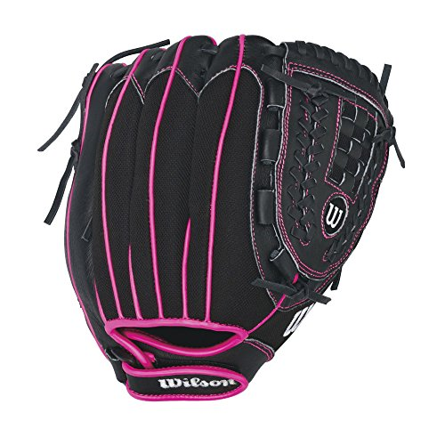 Wilson Flash Baseball Gloves, Black/Hot Pink, 11', Right Hand Throw