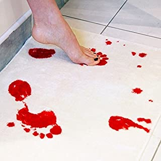 WYHUI Scare Your Friends White 4060cm Thriller Bloody Bathroom Mat Shower Mats Bloody Footprints