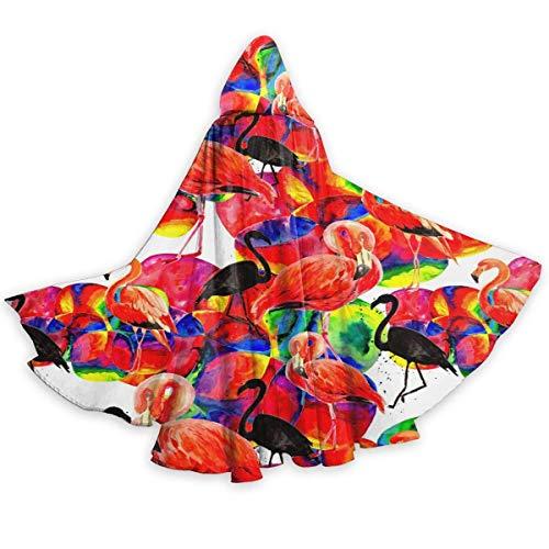 Inner-shop Patrón de Flamenco de pájaro en una Vida Silvestre por Estilo Acuarela Capa con Capucha Unisex Capa de Disfraz de Cosplay para Fiesta de Halloween para Adultos