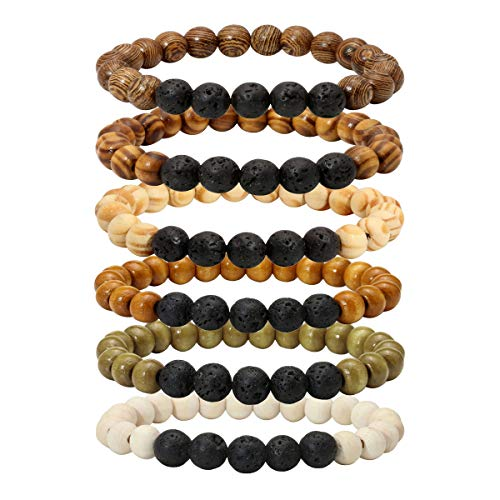 Eigso Wood Bead Bracelet Lava Rock Stone Beads Diffuser Bracelet Gemstone Aromatherapy Bracelet For Men Women