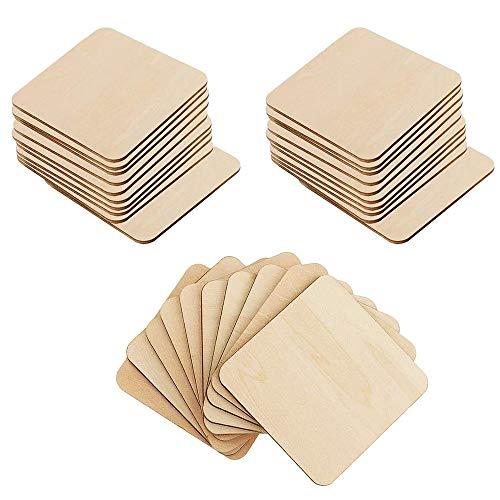 IWILCS 50 unidades de discos de madera, discos de madera natural, cuadrados de madera, discos de madera, discos de madera natural, para manualidades, regalos, decoración