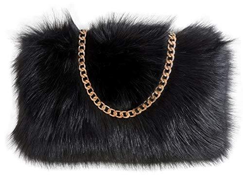 FHQHTH Faux Fur Purse Fuzzy Handbags for Women Evening Handbags Al alloy Shoulder Strap [Black]