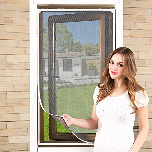 "Adjustable DIY Magnetic Window Screen Max 55""H x 36""W Fits Any Size Smaller DIY Easy Installation (White)"
