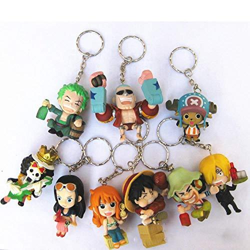MNZBZ 9 unids/Set One Piece Zoro Frank Luffy Brook Chopper Robin Nami Sanji Anime Llavero Figura de acción Coleccionable PVC colección Juguetes