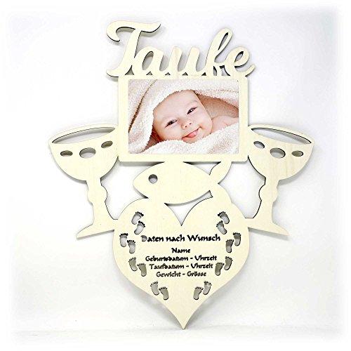 Taufgeschenke Geschenke zur Taufe Bilderrahmen mit Namen und Geburtsdaten - Heilige Baby Geschenk Junge Mädchen