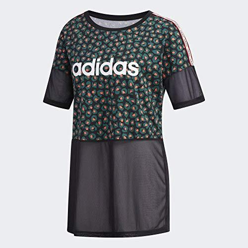 adidas W Farm Loos T - Maglietta da Donna, Donna, T-Shirt, FM6003, Negro/Veruni/Corsen/Blanco, XS