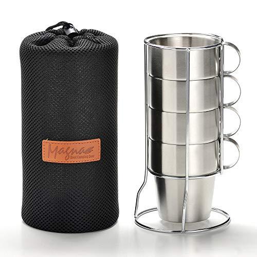 MAGNA(マグナ) マグカップ キャンプ 保温 マグ アウトドア ステンレス ダブルウォール 二重構造 マグカップセット メッシュバッグ付き (4個セット)