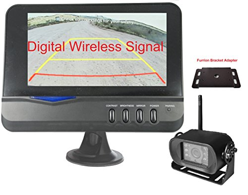 "4Ucam Digital Wireless Camera + 7"" Monitor + Adapter for Furrion FRCBRKT-BL Pre-Install Mounting Kit (FOS48T-BL/FOC12TA-BL) for RV, Trailer, 5th Wheels backup camera Furrion"