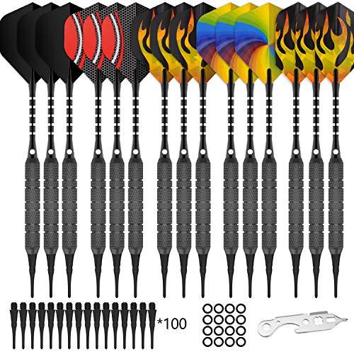 CyeeLife 15 Packs Soft tip Darts Set 18g,100 Extra Tips+Dart Tool+15 Aluminum shafts+20 Flights(5 Designs,Standard&Slim),Professional Plastic tip Darts for Electronic Dart Board-Black