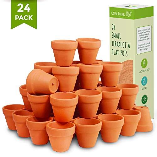 Green Thumbz kleine Tontöpfe, Diese kleine Blumentöpfe sind perfekt für Mini-Pflanzen, Kräuter, Mini-Blumen und Samen für den Innen- und Außenbereich (24er-Set)