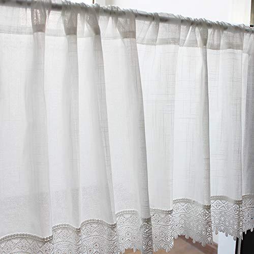 choicehot Amerikanisch Vintage Scheibengardinen Landhausstil Blumen Spitze Kurzstores Stilvoll Häkeln Küchen Vorhang Romantisch Weiß Schlafzimmer Gardine 1 Stück 60×120cm(H×B)