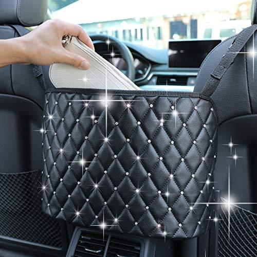 Organizador organizador de asiento de coche de piel de gran capacidad de malla para el respaldo de la bolsa entre los dos asientos del coche