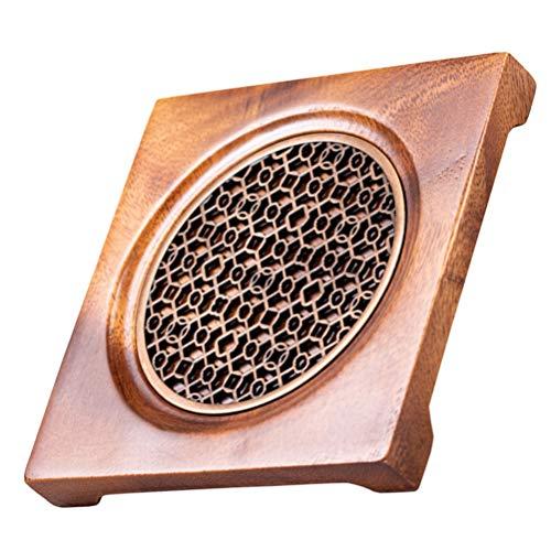 Hemoton Dessous de plat en bois pour théière et poêles - Résistant à la chaleur - Décoration de comptoir de cuisine