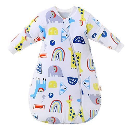 Saco de dormir para bebé mangas largas invierno 2.5-3.5Tog Saco de dormir de algodón 100% orgánico(M/tamaño del cuerpo 60-70cm)