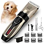 ▶Complete Kit for Pet Grooming◀ This dog clippers include 6 guiding combs (3/6/9/12mm, left and right) for length control, stainless steel comb and scissor for hair cutting, a storage bag for convenient carrying, a blade cleaning brush also included ...