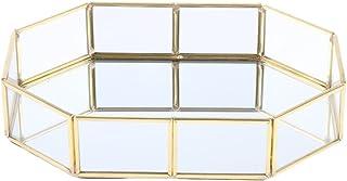 MagiDeal Metal Glass Jewelry Tray, Makeup Cosmetic Organizer Storage Box, Dessert Plate, Decorative Tray