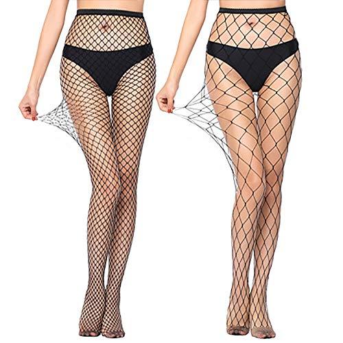 Durio Netzstrumpfhose Damen Strumpfhose Sexy Netzstrümpfe Elastisch Fishnet Tights 2er Pack Mittere&Große Maschen One Size