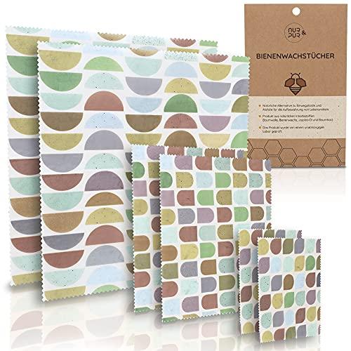 NUR&PUR Bienenwachstücher aus Bio Baumwolle - 6er Set Wachstücher für Lebensmittel Aufbewahrung - nachhaltiges Bienenwachstuch - Beeswax wrap - 2XL - 2L - 2M