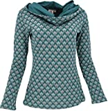 GURU SHOP Sudadera con capucha, camiseta Jaquard con capucha ancha, para mujer, algodón, jersey, manga larga y sudaderas alternativas azul turquesa XL